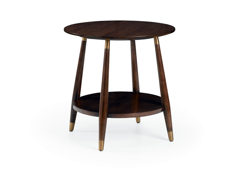 490250 Wildwood Wood/Iron Walnut Stain/Antique Brass Cooper Side Table