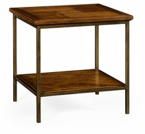 491002-CFW Jonathan Charles Fine Furniture JC Edited - Casually Country Country Walnut Square End Table With Iron Base
