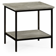 491002-RGA Jonathan Charles Fine Furniture JC Edited - Casually Country Rustic Grey Square End Table With Iron Base