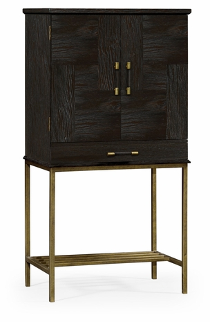491003-PDA Jonathan Charles Fine Furniture JC Edited - Casually Country Dark Ale Drinks Cabinet With Iron Base