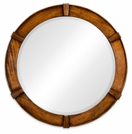 491006-CFW Jonathan Charles Fine Furniture JC Edited - Casually Country Country Walnut Round Mirror