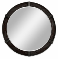 491006-PDA Jonathan Charles Fine Furniture JC Edited - Casually Country Dark Ale Round Mirror
