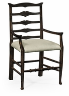 491008-AC-PDA-F001 Jonathan Charles Fine Furniture JC Edited - Casually Country Dark Ale Ladder Back Dining Armchair, Upholstered In Mazo