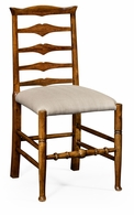 491008-SC-CFW-F001 Jonathan Charles Fine Furniture JC Edited - Casually Country Country Walnut Ladder Back Side Chair, Upholstered In Mazo