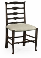 491008-SC-PDA-F001 Jonathan Charles Fine Furniture JC Edited - Casually Country Dark Ale Ladder Back Dining Side Chair, Upholstered In Mazo