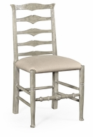 491008-SC-RGA-F001 Jonathan Charles Fine Furniture JC Edited - Casually Country Rustic Grey Ladder Back Side Chair, Upholstered In Mazo