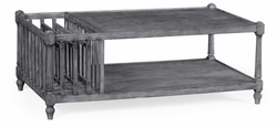 491012-ADG Jonathan Charles Fine Furniture JC Edited - Casually Country Antique Dark Grey Rectangular Coffee Table With Magazine Rack