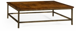 491014-CFW Jonathan Charles Fine Furniture JC Edited - Casually Country Country Walnut Square Coffee Table With Iron Base