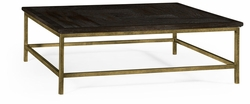 491014-PDA Jonathan Charles Fine Furniture JC Edited - Casually Country Dark Ale Square Coffee Table With Iron Base