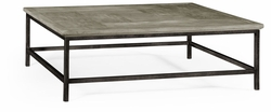 491014-RGA Jonathan Charles Fine Furniture JC Edited - Casually Country Rustic Grey Square Coffee Table With Grey Silver Base