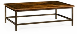 491015-CFW Jonathan Charles Fine Furniture JC Edited - Casually Country Country Walnut Rectangular Coffee Table With Iron Base