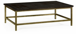 491015-PDA Jonathan Charles Fine Furniture JC Edited - Casually Country Dark Ale Rectangular Coffee Table With Iron Base