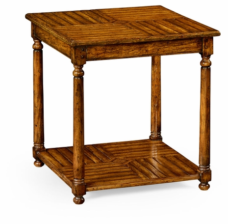 491051-CFW Jonathan Charles Fine Furniture JC Edited - Casually Country Country Walnut Parquet Square Lamp Table With Contrast Inlay