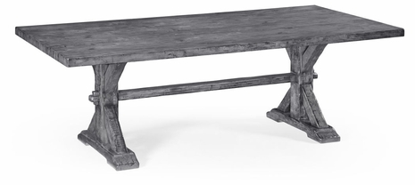 491059-90L-ADG JC Edited Casual Country Large Solid Antique Dark Grey Topped Dining Table