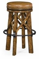 491071-CFW Jonathan Charles Fine Furniture JC Edited - Casually Country Country Style Walnut & Iron Bar Stool With Antque Chestnut Leather