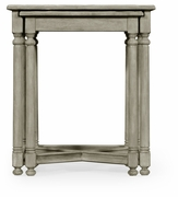 491078-RGA JC Edited Casual Country Rustic Grey Parquet Nesting Tables With Contrast Inlay