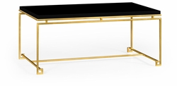 491104-G-BLG Jonathan Charles Fine Furniture JC Edited - Simply Elegant Gilded Iron Rectangular Coffee Table With Smoky Black Top