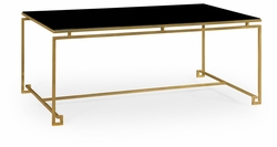 491104-G-GBL Jonathan Charles Fine Furniture JC Edited - Simply Elegant Gilded Iron Rectangular Coffee Table With A Black Glass Top