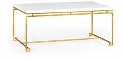 491104-G-WGL Jonathan Charles Fine Furniture JC Edited - Simply Elegant Gilded Iron Rectangular Coffee Table With Biancaneve Top