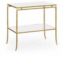 491106-G-GAM Jonathan Charles Fine Furniture JC Edited - Simply Elegant Gilded Iron Rectangular Side Table With An Antique Glass Top