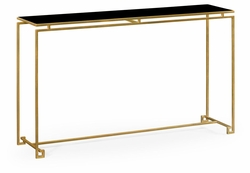 491107-G-GBL Jonathan Charles Fine Furniture JC Edited - Simply Elegant Gilded Iron Large Console Table With A Black Glass Top