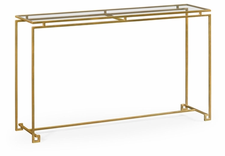 491107-G-GCL Jonathan Charles Fine Furniture JC Edited - Simply Elegant Gilded Iron Large Console Table With A Clear Glass Top