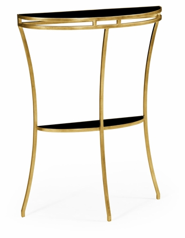 491109-G-GBL JC Edited Simply Elegant Gilded Iron Demilune Console Table