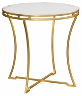 491110-G-GAM Jonathan Charles Fine Furniture JC Edited - Simply Elegant Gilded Iron Round Side Table With An Antique Glass Top