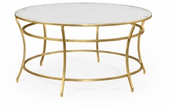 491111-G-GAM Jonathan Charles Fine Furniture JC Edited - Simply Elegant Gilded Iron Round Coffee Table With An Antique Glass Top