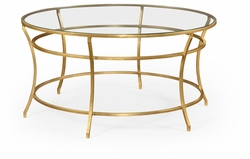 491111-G-GCL Jonathan Charles Fine Furniture JC Edited - Simply Elegant Gilded Iron Round Coffee Table With A Clear Glass Top