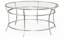 491111-S-GCL Jonathan Charles Fine Furniture JC Edited - Simply Elegant Silver Round Iron Coffee Table With A Clear Glass Top