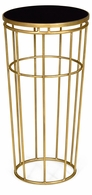 491113-G-GBL Jonathan Charles Fine Furniture JC Edited - Simply Elegant Gilded Iron Round End Table With Black Glass Top