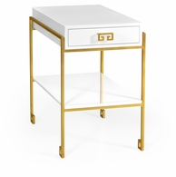491115-G-WGL Jonathan Charles Fine Furniture JC Edited - Simply Elegant Gilded Iron End Table With Biancaneve Drawer