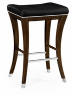 491117-AMW-L012 Jonathan Charles Fine Furniture JC Edited - Assorted American Walnut Counter Stool, Upholstered In Black Leather