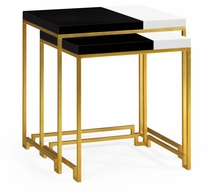 491134-G-BLG Jonathan Charles Fine Furniture JC Edited - Simply Elegant Gilded Iron Nesting Table With Smoky Black And Biancaneve Top