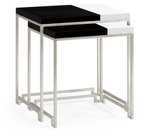491134-S-BLG Jonathan Charles Fine Furniture JC Edited - Simply Elegant Silver Iron Nesting Table With Smoky Black And Biancaneve Top