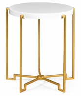 491136-G-WGL Jonathan Charles Fine Furniture JC Edited - Simply Elegant Gilded Iron Round Lamp Table With Biancaneve Top