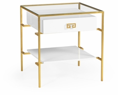 491151-G-WGL Jonathan Charles Fine Furniture JC Edited - Simply Elegant Gilded Iron Side Table In Biancaneve