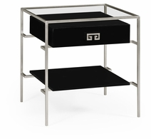 491151-S-BLG Jonathan Charles Fine Furniture JC Edited - Simply Elegant Silver Iron Side Table In Smoky Black