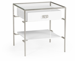 491151-S-WGL Jonathan Charles Fine Furniture JC Edited - Simply Elegant Silver Iron Side Table In Biancaneve