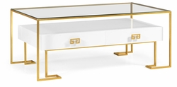 491152-G-WGL Jonathan Charles Fine Furniture JC Edited - Simply Elegant Gilded Iron Coffee Table In Biancaneve