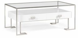 491152-S-WGL Jonathan Charles Fine Furniture JC Edited - Simply Elegant Silver Iron Coffee Table In Biancaneve
