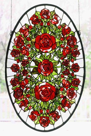 49173 Meyda Tiffany Oval Rose Garden Window