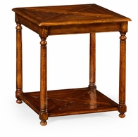 492018-WAL Jonathan Charles Country Farmhouse Square Parquet Topped Side Table With Undertier