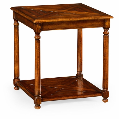 492018-WAL Jonathan Charles Square parquet topped side table with undertier
