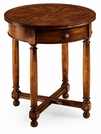 492021-WAL Jonathan Charles Country Farmhouse Round Parquet Topped Side Table