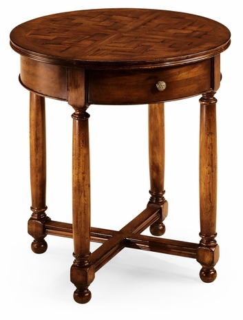492021-WAL Jonathan Charles Round parquet topped side table