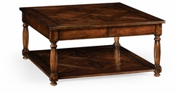 492022-DWA Jonathan Charles Country Farmhouse Square Parquet Topped Coffee Table