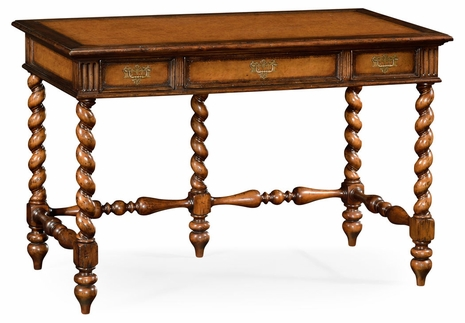 492079-WAL Jonathan Charles Country Farmhouse Leather & Walnut Turned Desk