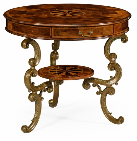 492096-WAL Jonathan Charles Windsor Oyster Round Table On Brass Base